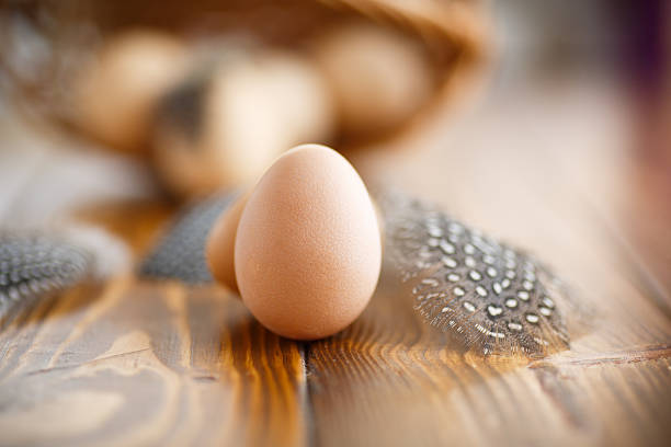 Guinea Fowl Eggs And Feathers On A Wooden Table